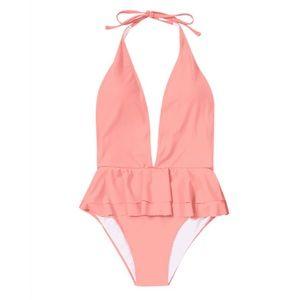 pink ruffle swimsuit never worn!
